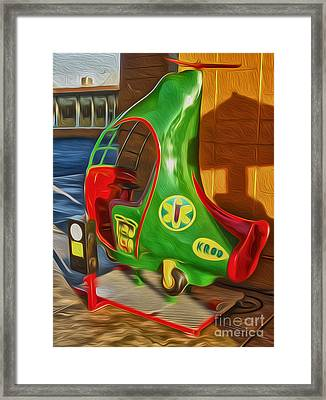 Twirly Bird - Red And Green Framed Print by Gregory Dyer