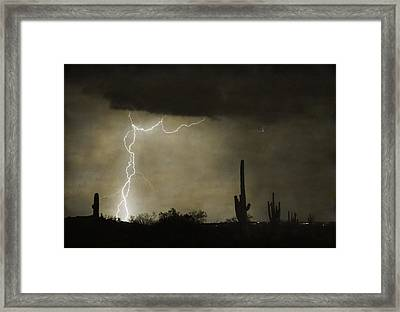 Twisted Desert Lightning Storm Framed Print