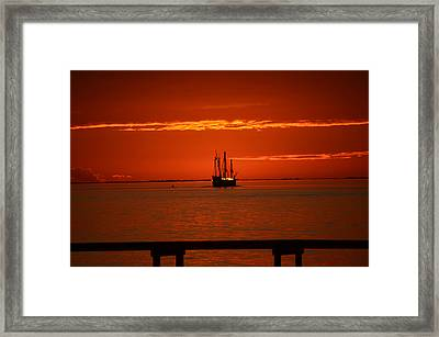 Two 3-masted Schooners Sail Off Into The Santa Rosa Sound Sunset Framed Print by Jeff at JSJ Photography