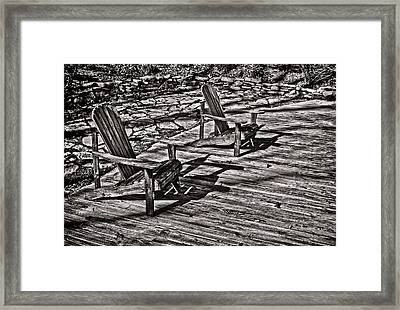 Framed Print featuring the photograph Two Adirondack Chairs In B/w by Greg Jackson