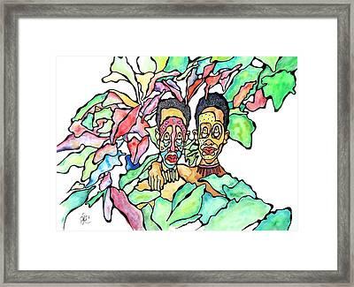 Two African Men In Leaves Framed Print by Glenn Calloway
