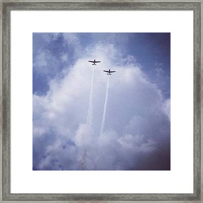Two Airplanes Flying Framed Print by Christy Beckwith