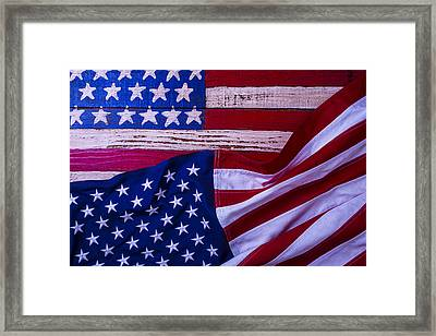 Two American Flags Framed Print