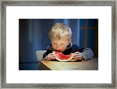 Two And A Half Years Of Watermelon Love Framed Print by Valerie Rosen