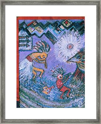 Two And One Half Cool Kokopellis Framed Print by Anne-Elizabeth Whiteway
