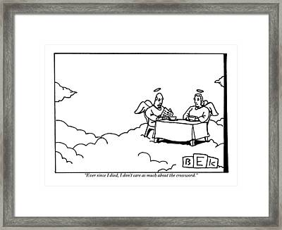 Two Angels Are Seen Sitting At A Table Framed Print
