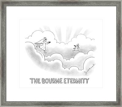 Two Angels In Heaven Chase Each Other With Guns Framed Print by David Borchart
