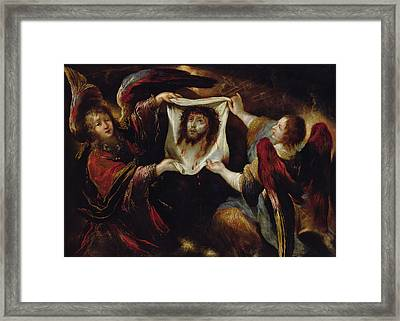 Two Angels Presenting The Holy Face  Framed Print by Claude Vignon