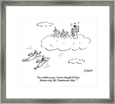Two Angels Speak As They Look At Frank Sinatra Framed Print
