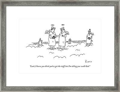 Two Angels Speak To Each Other In A Baseball Framed Print