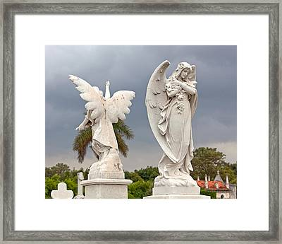 Two Angels With Cross Framed Print