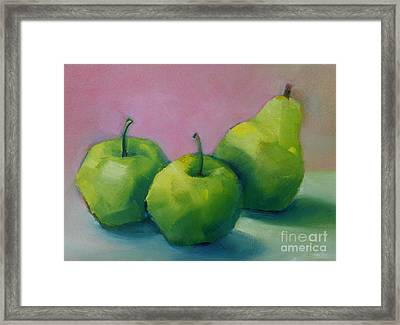 Two Apples And One Pear Framed Print