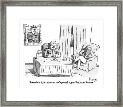 Two Army Generals Are Seen Sitting And Talking Framed Print