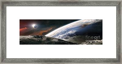Two Astronauts Exploring A Moon Framed Print by Tobias Roetsch