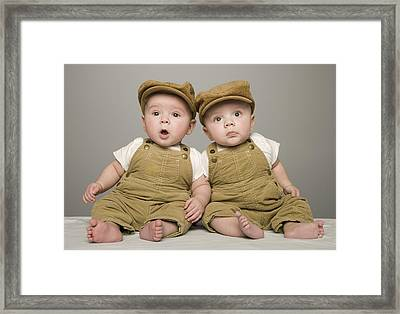 Two Babies In Matching Hat And Overalls Framed Print