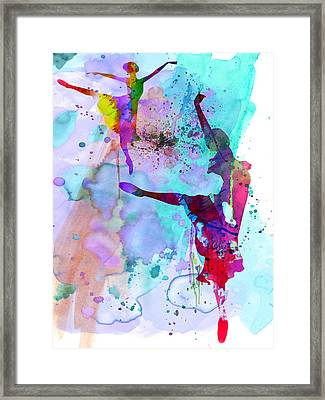 Two Ballerinas Watercolor 4 Framed Print by Naxart Studio