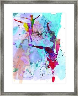 Two Ballerinas Watercolor 4 Framed Print