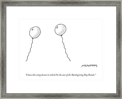 Two Balloons Speak To One Another Framed Print