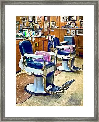 Two Barber Chairs With Pink Striped Barber Capes Framed Print by Susan Savad