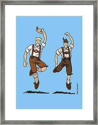 Two Bavarian Lederhosen Men Framed Print