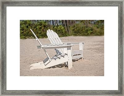 Framed Print featuring the photograph Two Beach Chairs by Charles Beeler