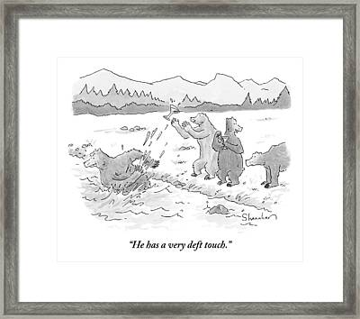 Two Bears Drink Martinis On The Bank Of A River Framed Print