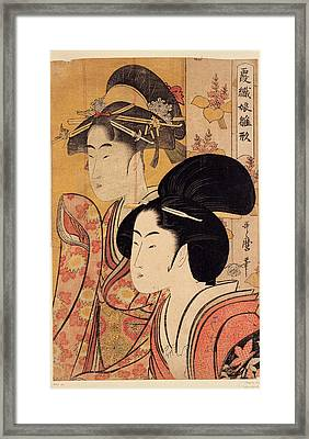 Two Beauties With Bamboo Framed Print by Georgia Fowler