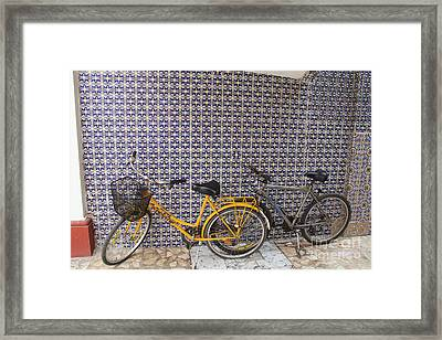 Two Bicycles At The Hotel Belmar Framed Print by Linda Queally