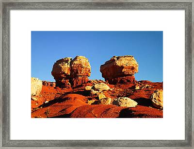 Two Big Rocks At Capital Reef Framed Print by Jeff Swan