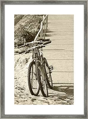 Two Bikes On The Beach Framed Print by Ben and Raisa Gertsberg