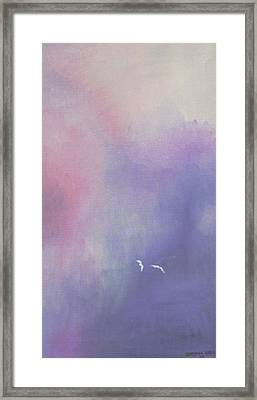 Two Birds Flying In Ravine. Framed Print by Christina Rahm Galanis