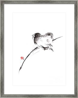Two Birds Minimalism Artwork. Framed Print by Mariusz Szmerdt