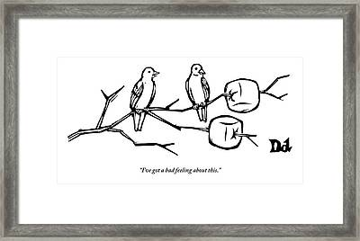 Two Birds Perch On A Branch That Has Marshmallows Framed Print