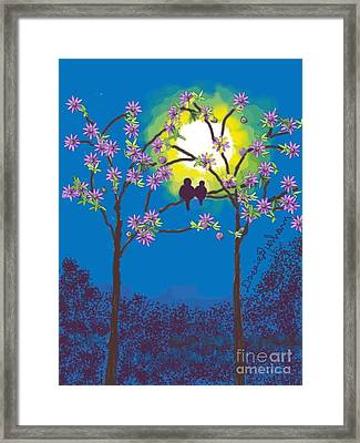 Two Birds Roosting In A Sun Set Framed Print by Dessie Durham