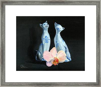 Two Birthday Party Cats Framed Print