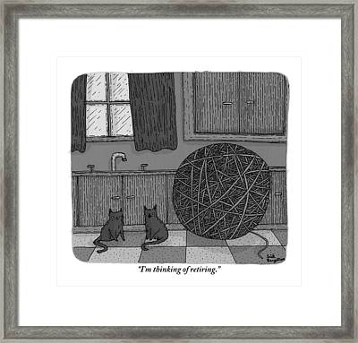 Two Black Cats In A Kitchen Beside A Huge Ball Framed Print