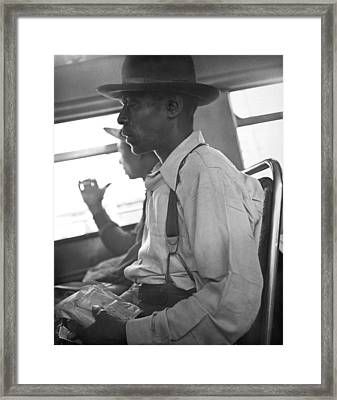 Two Black Men On A Bus Framed Print by Underwood Archives