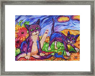 Framed Print featuring the painting Two Blue Cats Among Daisies by Dianne  Connolly