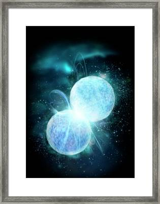Two Blue Stars Merging Framed Print
