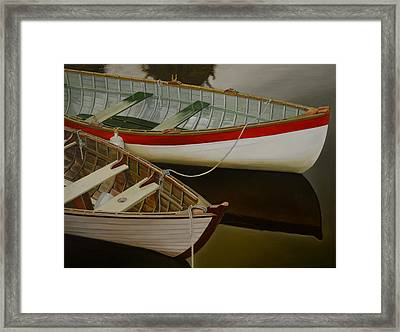 Framed Print featuring the painting Two Boats by Thu Nguyen