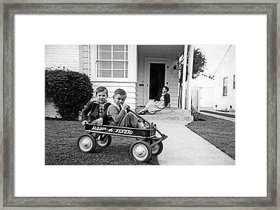 Two Boys And A Radio Flyer Wagon Framed Print by Underwood Archives