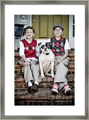 Two Boys And Their Dog Framed Print by Jt PhotoDesign