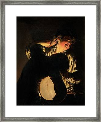 Two Boys Fighting Over A Bladder Framed Print by Joseph Wright of Derby