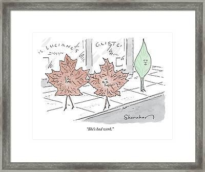 Two Brown Leaves Speak About A Green Leaf Framed Print
