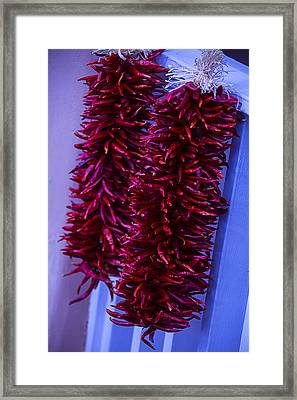 Two Bunches Of Red Peppers Framed Print by Garry Gay