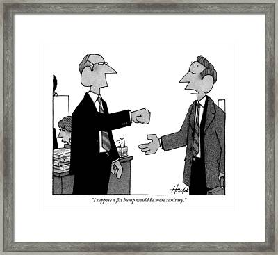 Two Business Men Stand Together Framed Print