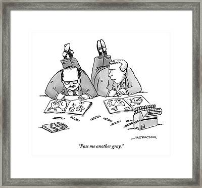 Two Businessmen In Suits Lie On The Floor Framed Print