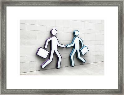 Two Businessmen Shaking Hands Framed Print by Jorg Greuel
