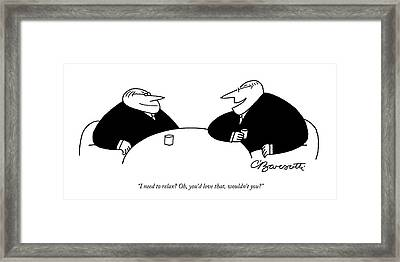 Two Businessmen Sit And Speak At A Table Digibuy Framed Print by Charles Barsotti