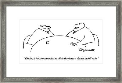 Two Businessmen Speak To Each Other Framed Print